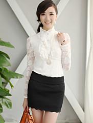 CHAOLIU女性のスタンドカラースリムフリルレースシャツ