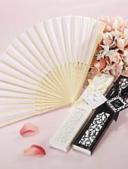 Ventilador de seda luxuoso mão na caixa de presente elegante, cortado a laser