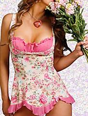 Sladká dívka Pink Floral Polyester Sexy Uniform