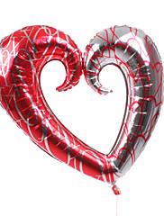 Plata y rojo corazón Globo Metálico