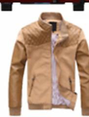 Xingke Pánská Casual límec Slim Cotton Coat (Káva)