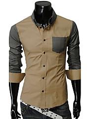 男性用 カラーブロック カジュアル シャツ,長袖 コットン ブルー / ホワイト / ベージュ