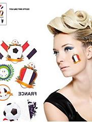 2ks Fotbal vzor Francie Světový pohár Vodotěsné tetování těla Dočasné Glitter Samolepky
