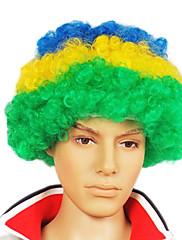 キャップレスサッカーファンパーティーウィッグ(ブラジル国旗の色)