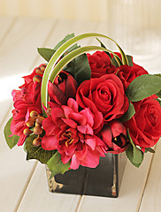 8 'H Vivid Arreglo floral (rojo y cuadrado)