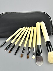 9 ks Sada Kosmetický štětec Make up Tool Kit + Zip kožené pouzdro 10404