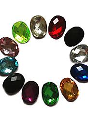 24PCS Mixs Color Glitter Ovalni Rhinestone Nail Art Dekoracije