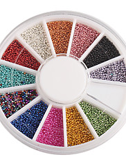 12-Color Small Nail kulové korálky Nail Art Decoraitons