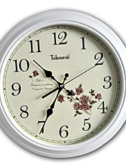 Telesonic™15「Hヨーロピアンクラシックスタイルの花の木製ミュート壁掛け時計