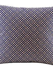 花柄格子コットン/リネン装飾枕カバー