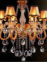 Moderní křišťálový lustr ve zlaté barvě s stínítkem, skla a křišťálu