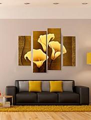 キャンバス地アート黄金のカラス4の装飾的な絵画のセット