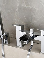 現代風 バスタブとシャワー 滝状吐水タイプ / ハンドシャワーは含まれている with  真鍮バルブ 二つのハンドル二つの穴 for  クロム , シャワー水栓 / 浴槽用水栓