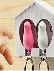 白い木の家スズメの鳥キーチェーンランダムな色2個の1セット