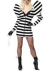 vězni pruhovaný dlouhý rukáv cosplay šaty dospělých žen je Halloween kostým