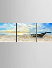 e-HOME® plátně umění loď zakotvila na břehu dekorace malířské sady 3