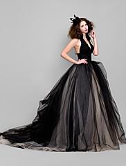 balklänning v-ringad domstol tåg tyll aftonklänning