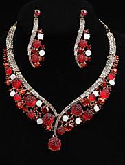 Parure de bijoux en cristaux rouges