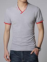 Pánské Bavlna/Spandex Denní nošení/Větší velikosti Jednobarevné Triko Krátký rukáv