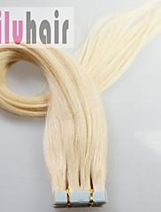 16インチ-24inchの20枚の皮膚横糸テープで本物の人間の髪の毛のエクステンション#613(ブリーチブロンド)