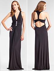 シース/コラムVネック床の長さのジャージーのイブニングドレス