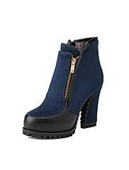 Boty-Koženka-Platformy Pohodlné Kombat boty Bootie Jezdecké boty Módní boty-Dámské-Černá Modrá kávová-Outdoor Šaty Běžné-Kačenka