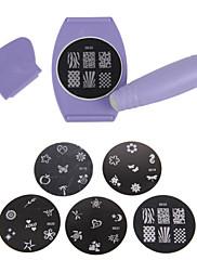 kutilství jednoduché dekor Zdobení stamper art nástroje pro tisk kit tiskárna tiskne vzor razítko manikúra stroj