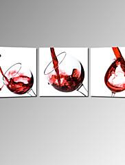 vizuální star®red víno plátně 3 Pannel moderní dekorace umění připraven k zavěšení