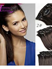 ' -  24' '#2 12'における人間本当の髪の拡張子で熱いブラジルのクリップは、100%のヘアクリップ
