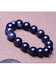 青い星空自然な本物のクリスタルの宝石チベットビーズのストランドブレスレット、ユニセックスジュエリー