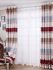 2パネル ウィンドウトリートメント 欧風 , 縞柄 ベッドルーム リネン/ポリエステル混 材料 カーテンドレープ ホームデコレーション For 窓