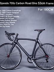 18スピードカーボンフレームロードバイクのアルミ合金ホイール180センチメートル男性用のダブルディスクブレーキ8.8キロ東レの炭素53センチメートルフレーム