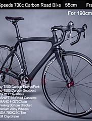 18スピードカーボンフレームロードバイクのアルミ合金ホイール190センチメートル男性用のダブルディスクブレーキ8.8キロ東レの炭素55センチメートルフレーム