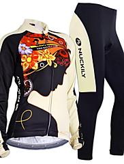 Nuckily タイツ付きサイクリングジャージー 女性用 長袖 バイク ジャージー 洋服セット防風 人間工学デザイン 透湿性 フロントファスナー ケトルバッグ内蔵 防塵 耐久性 高通気性 ソフト ホールドフィット 反射性ストリップ 後ポケット 耐衝撃性の 低摩擦