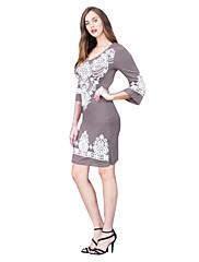 婦人向け ヴィンテージ シース ドレス,プリント 膝上 ラウンドネック コットン / ポリエステル