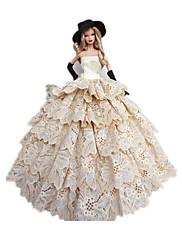 プリンセスライン コスチューム ために バービー人形 ホワイト / ブラック ドレス / ハット / 手袋 のために 女の子の 人形玩具