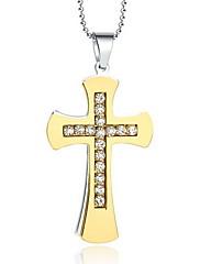 Dámské Náhrdelníky s přívěšky Přívěšky Titanová ocel imitace Diamond Cross Shape Haç Módní Zlatá Šperky Denní Ležérní 1ks