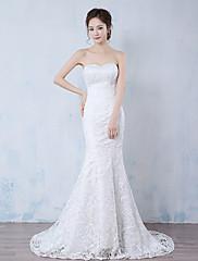 Mořská panna Svatební šaty Dlouhá vlečka Bez ramínek Krajka s