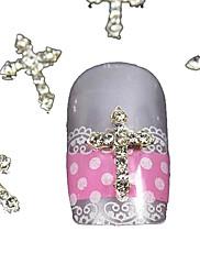 10ks stříbrná drahokamu tipy křížení prstů příslušenství nail art dekorace