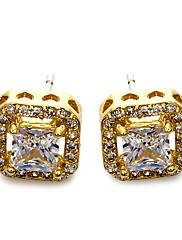 スタッドピアス シンプルなスタイル ファッション キュービックジルコニア 銅 プラチナメッキ ゴールドメッキ スクエア ゴールド ホワイト ジュエリー のために 結婚式 パーティー 日常 カジュアル 1ペア