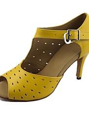 Obyčejné-Dámské-Taneční boty-Latina / Jazz-Koženka-Na zakázku-Žlutá