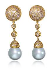 Visací náušnice Perla Módní Měsíční kámen Napodobenina perel Zirkon Měď Pokovená platina Pozlacené Round Shape Zlatá Bílá Šperky Pro