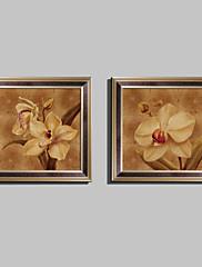 花柄/植物の 額入りキャンバス / 額入りセット ウォールアート,ポリ塩化ビニル ブラウン マットなし フレーム付き ウォールアート