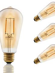 2 E26/E27 LED žárovky s vláknem ST21 2 COB 180 lm Jantarově žlutá Stmívací / Ozdobné AC 110-130 V 4 ks
