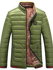 男性用 レギュラー ダウン コート,ポリエステル / ナイロン プレイン 長袖