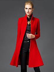 Mujer Sofisticado Noche Un Color Abrigo,Escote Chino Manga Larga Invierno Lana Rojo / Negro Medio