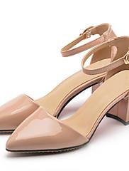 Feminino Sapatos Couro Envernizado Verão Tira no Tornozelo Saltos Salto Grosso Dedo Apontado Presilha Para Casual Social Branco Preto