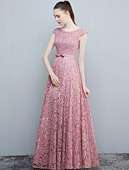 Formální večerní šaty - otevíratelné a-line kopeček podlaha-délka krajka s lukem (y)