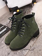 Boty-PU-Kotníkový pásek-Dámské-Černá Zelená-Šaty Běžné-Nízký podpatek