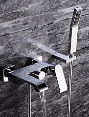 現代風 壁式 ハンドシャワーは含まれている with  セラミックバルブ シングルハンドル三穴 for  クロム , 浴槽用水栓